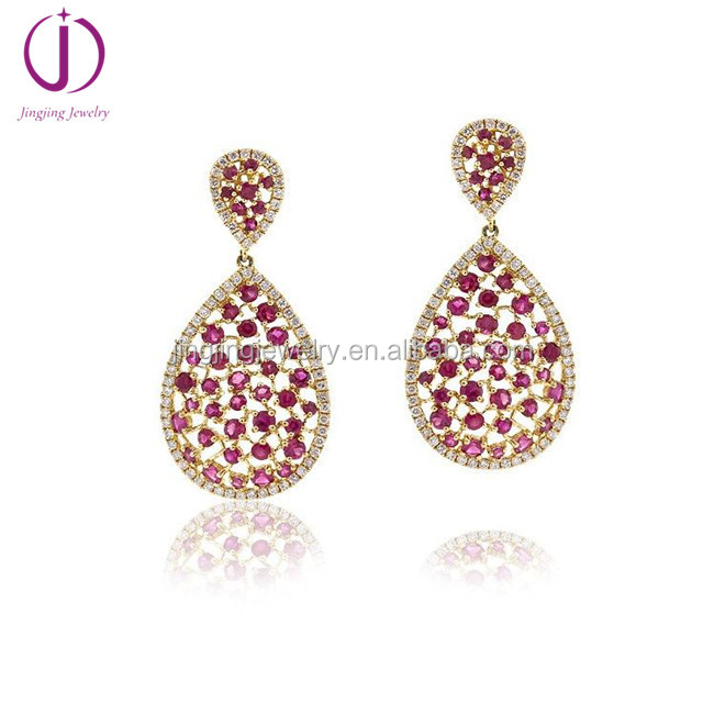 wholesale factory price jewelry 925 sterling silver ruby earrings