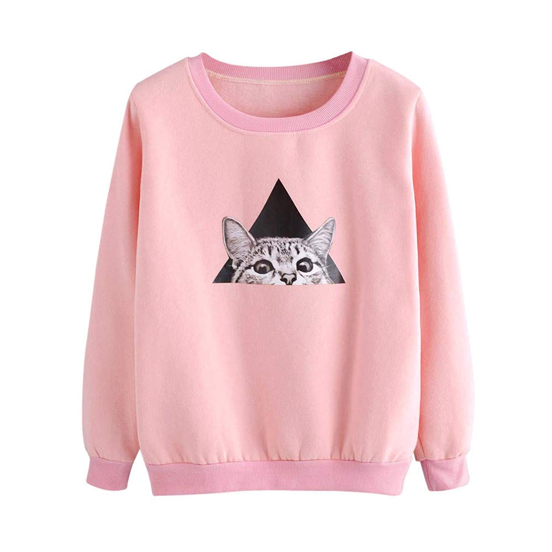 Dressin_Women's Long Sleeve Clearance!Dressin_Women's Ladies Casual Sweatshirt Pullover Pink