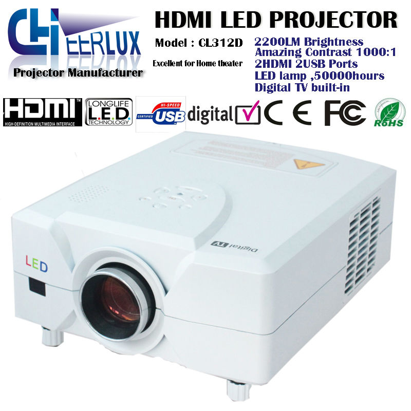 hd 1080p built-in digital tv projector with led lamp + 2200 lumens + multiple interfaces for home entertainment tv dvd xbox game