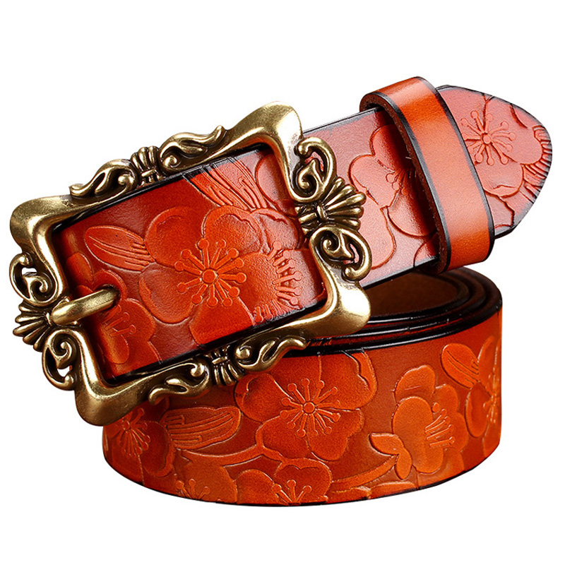 2015 New Fashion Wide Genuine leather belt woman vintage Floral carved Cow skin belts women Top