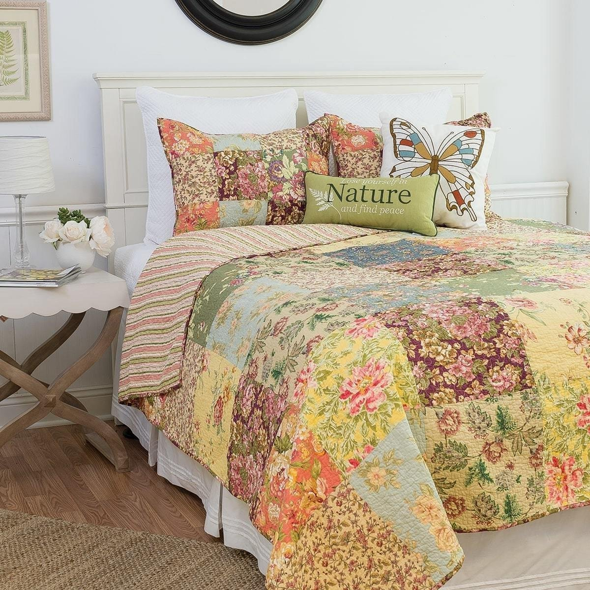MISC 2pc Shabby Chic Yellow Purple Green Blue Pink Twin Quilt Set, Cotton, Floral Patchwork Themed Bedding Vintage Cottage French Country Stylish Pretty Flower Boho Bohemian Striped