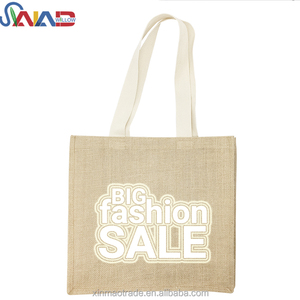 2018 hot selling customized free sample jute tote bag ladies' burlap beach tote bag