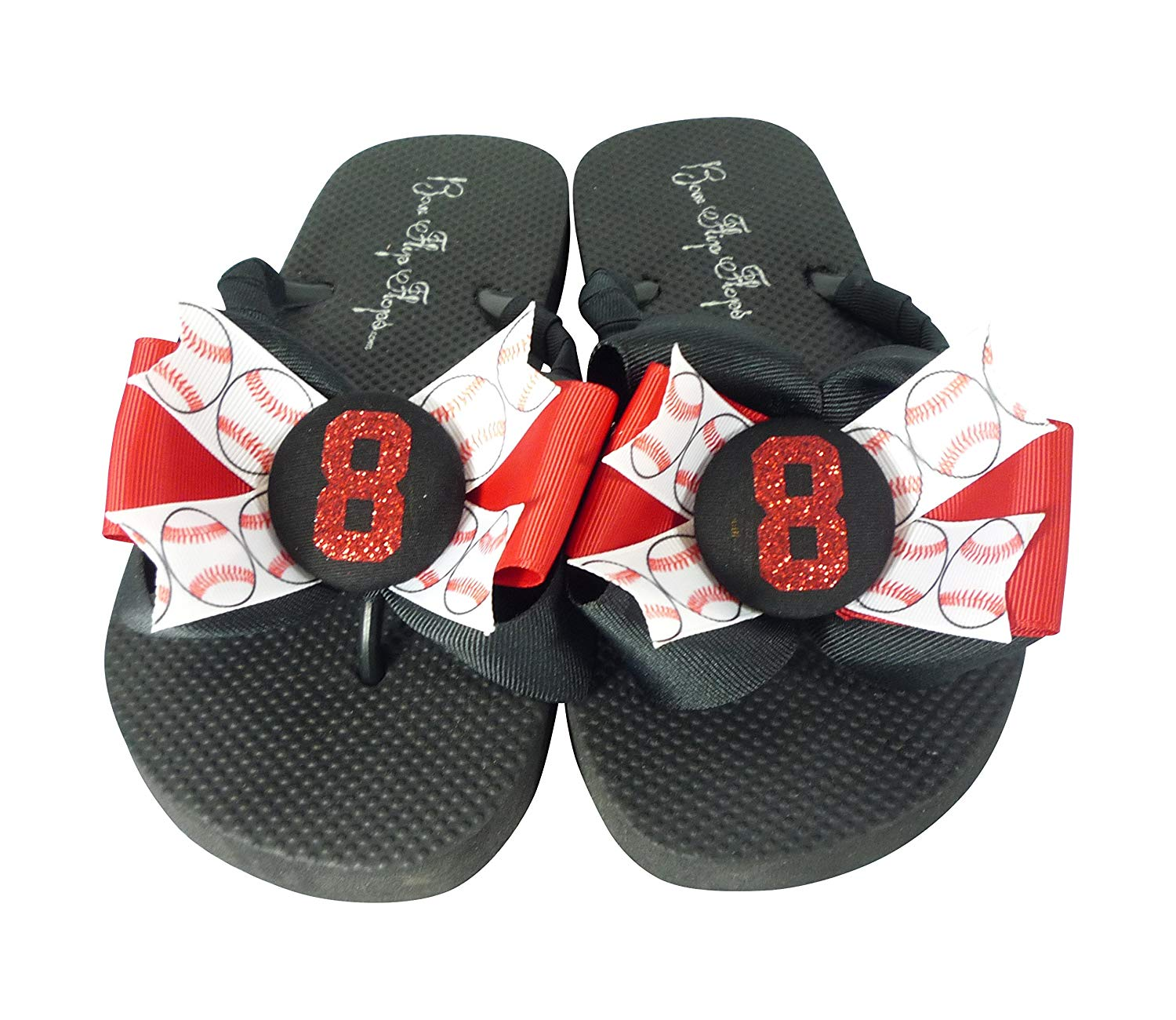 0513c8eb7f98c2 Get Quotations · Red Glitter and Black Baseball Bow Flip Flops for Ladies  and Children - softball football soccer