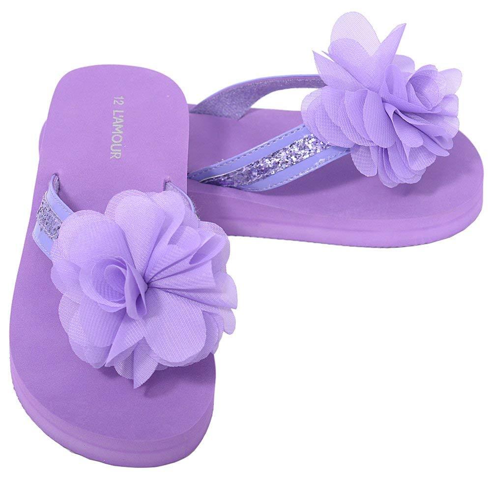 e3156a12a Get Quotations · L Amour Purple Sequin Strap Flower Flip Flop Sandals  Little Girls ...