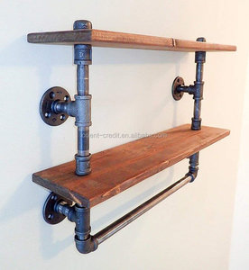 2 Tiers Pipe Towel Rack Solid wood and iron pipes 12 inches Depth Urban Style Farm House wooden floating shelves