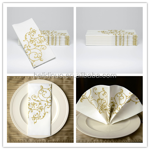 "16*16"" Durable Colored Decorative Gold Splendor Cloth Like Disposable Dinner Airlaid Paper Napkins"
