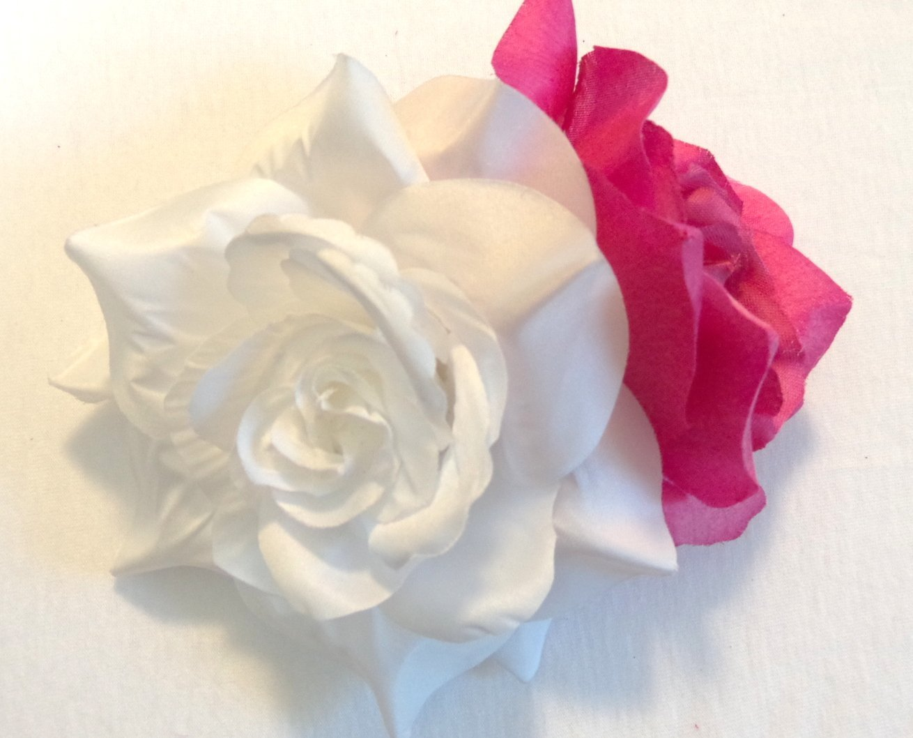 Buy Large White Rose With Pink Rose Hair Flower Clip In Cheap Price