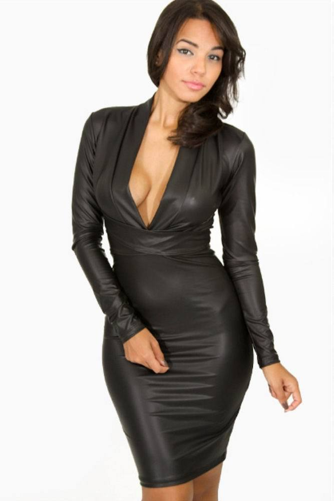 81a9b4a8477 Get Quotations · unique style higher neck on back with long zip Black  Plunging V-neck Long-