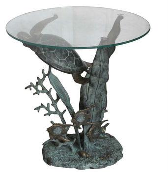 Bronze Turtle Sea Scape Coffee Tablegarden Table Coastal Decor - Sea turtle coffee table