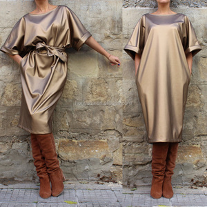 2017 Gold Metallic Fabric Evening Cocktail Dress For Fat Women Plus Size Leather Dress HSD5978