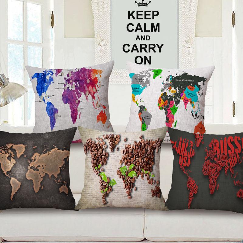 45cm 200g Mediterranean World Map Thick Fashion Cotton Linen Throw Pillow Hot Sale 18 Inch New Home Decor Sofa Back Cushion MQQ
