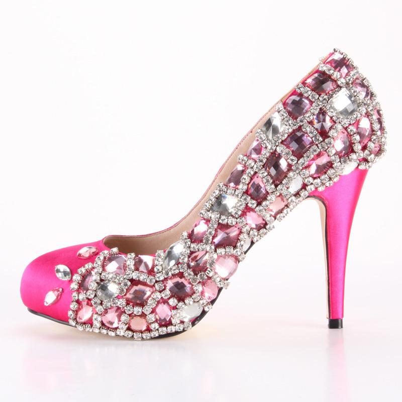 Pink Heels For Wedding: JWS356 Free Shipping Custom Made XINQUAN Hot Pink Prom