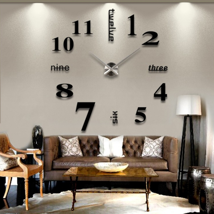 2018 New Arrival 120*120cm Creative 3D DIY Wall Sticker Clock for home office decorative clock wall
