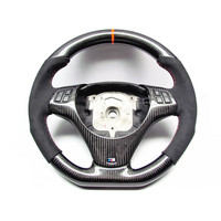 AUTO CARBON FIBER RACING CAR STEERING WHEEL FOR BMW E87 E90 E92 M3 330i 335i 135i Orange Ring Flat Bottom STEERING WHEEL