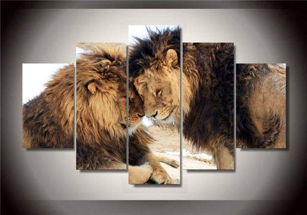Home Interior Lion Picture: Framed Printed Animals Lion