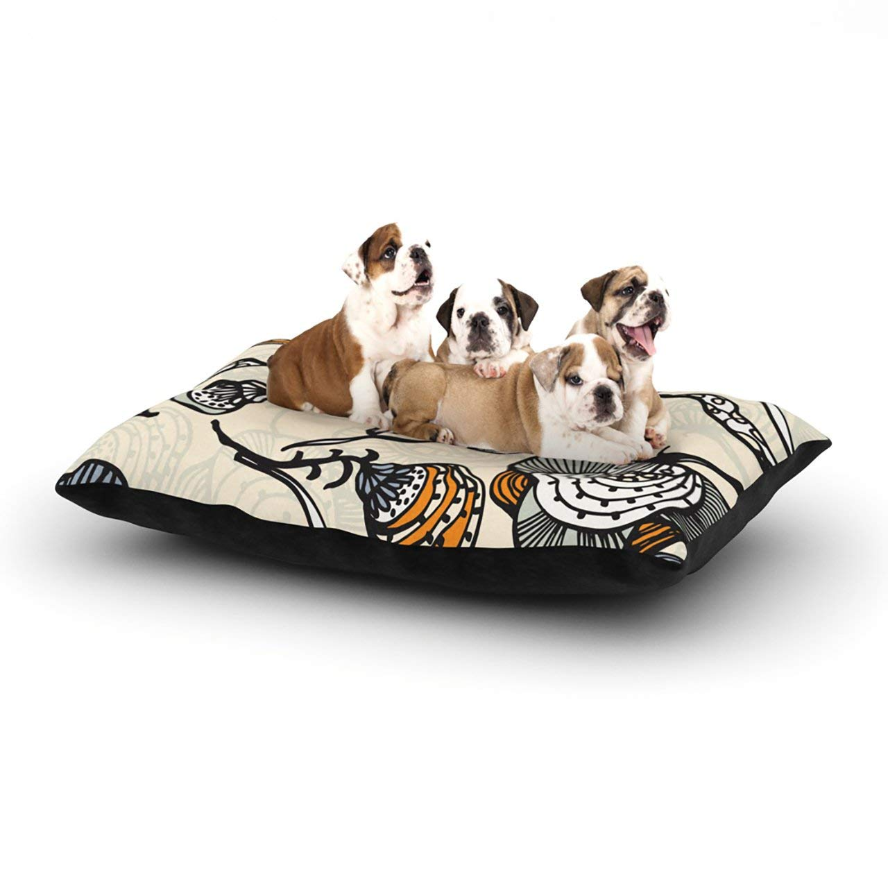 "Kess InHouse Gill Eggleston ""Future Nouveau"" Tan Floral Dog Bed"