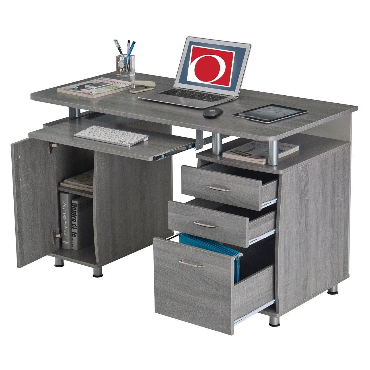 Modern Grey Multifunctional Office Desk with File Cabinet & Keyboard Tray, Perfect for Student & Secretary, Ergonomic Computer & Workstation Desk, Writing Desk, BONUS E-book