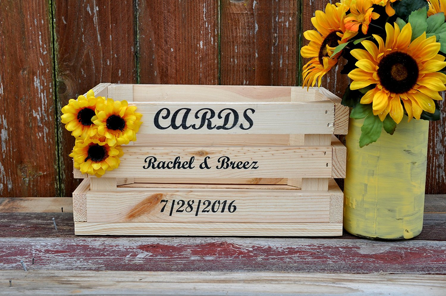 Buy Rustic wedding card holder natural wood crate personalized front color  choice holds 100+ cards in Cheap Price on Alibaba.com