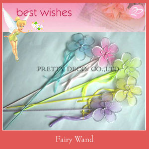 Glitter silk Flower ribbon fairy wand for kids