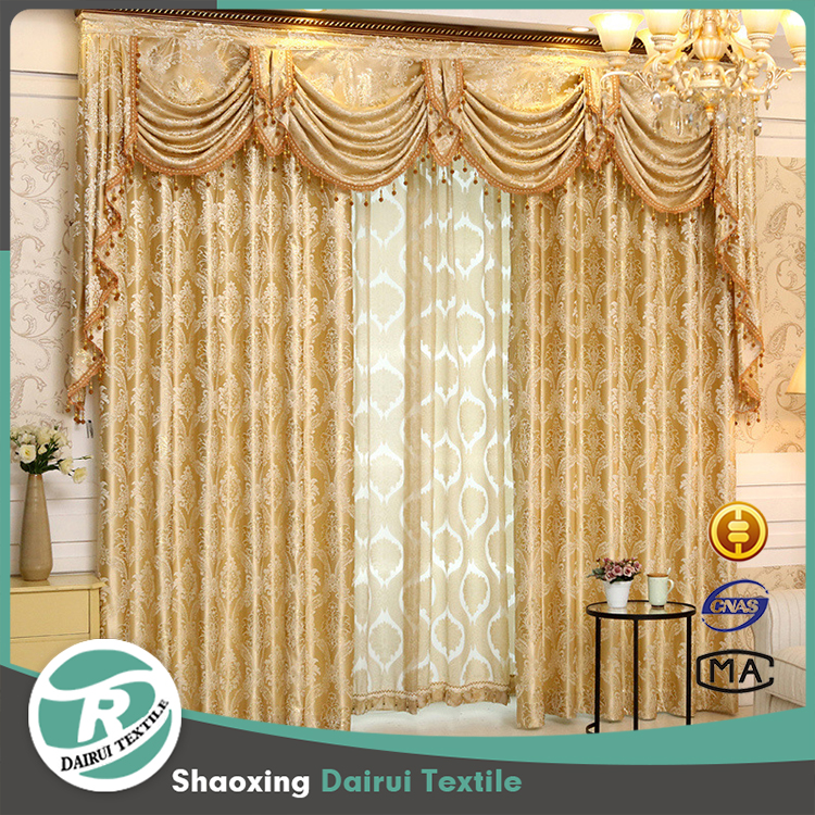 Hot selling india style jacquard curtain with valance
