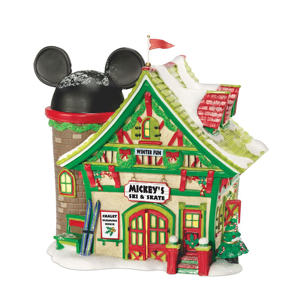Department 56 Disney Village Lit House Mickey's Ski Chalet, 6x5x6.5-Inch