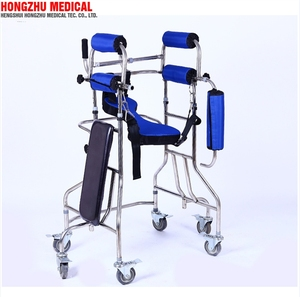 Handicapped equipment rehabilitation stainless steel frame elderly under arm support walkers with seat rest