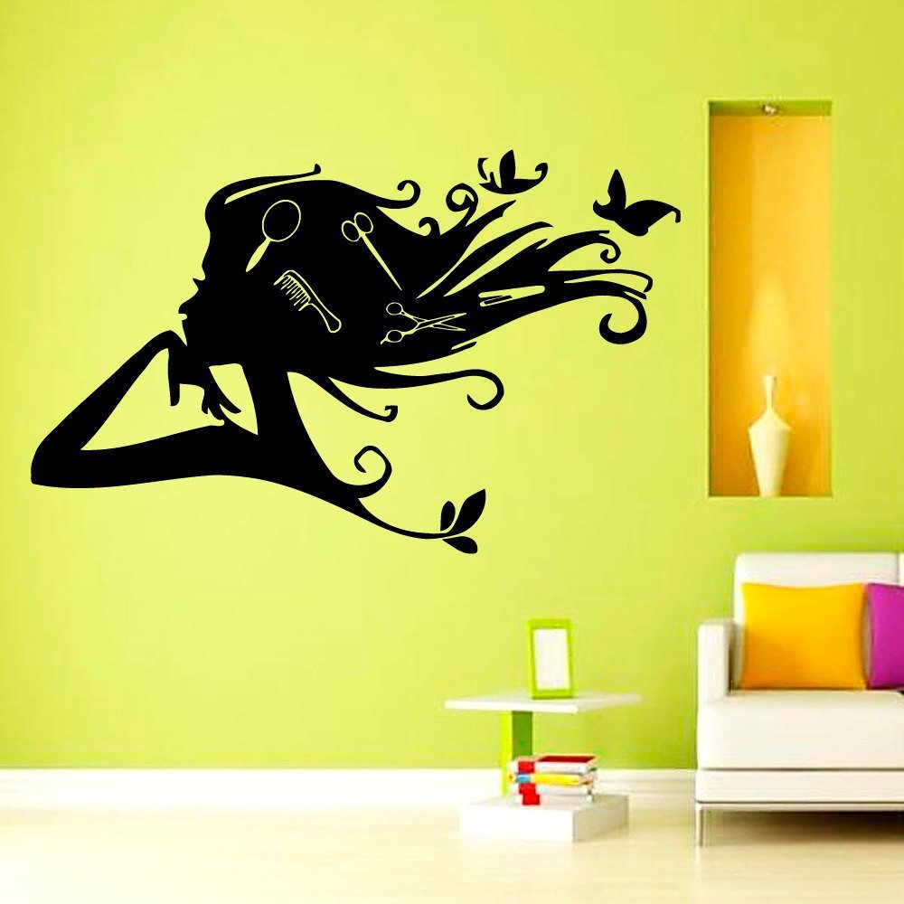hair salon wall vinyl decal girl with butterfly combs in hair beauty salon sign wall sticker. Black Bedroom Furniture Sets. Home Design Ideas