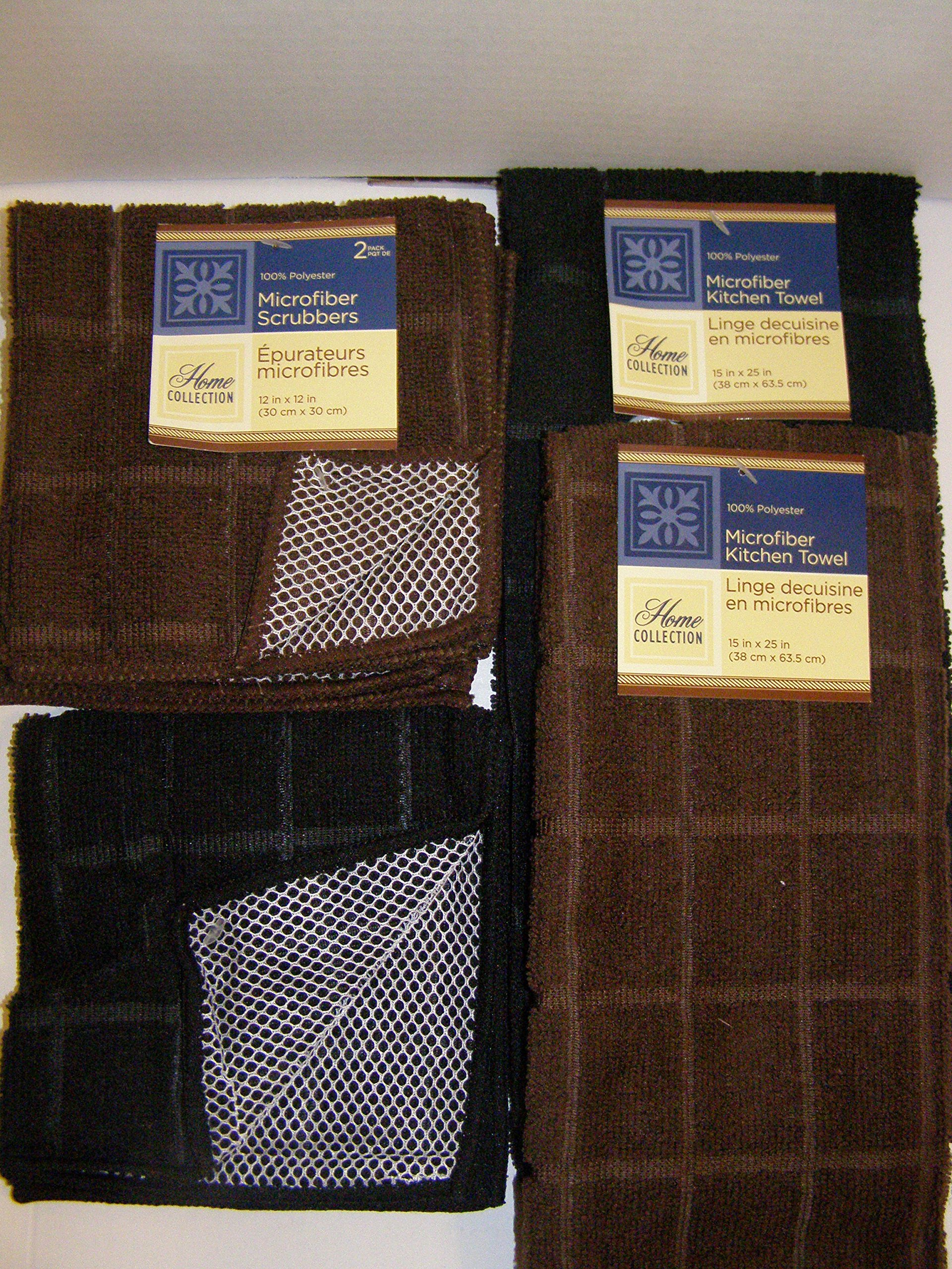 Bundle of Kitchen Linens by Home Collection Featuring: Kitchen Towels, Pot Holders, Oven Mitts, Dishcloths, Dish Drying Mat (10, Solid Brown & Black)