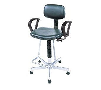Nexel Office Stool With Teardrop Footrest And Loop Arms, Black Vinyl