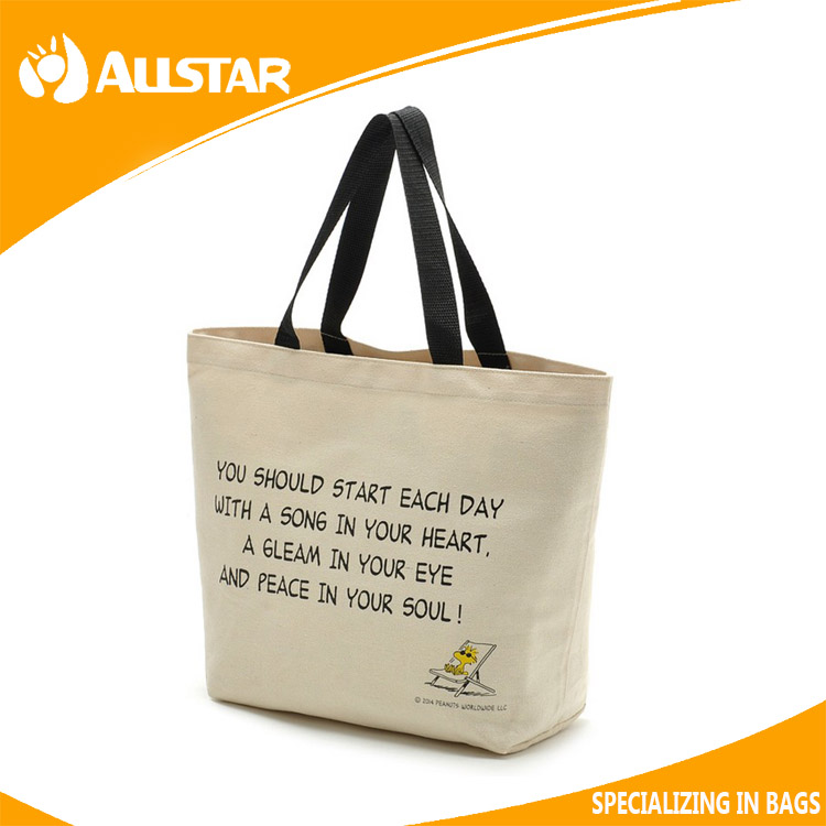 Wholesale Eco-Friendly Cotton Canvas Printed Shopping Bag With Rod Handle