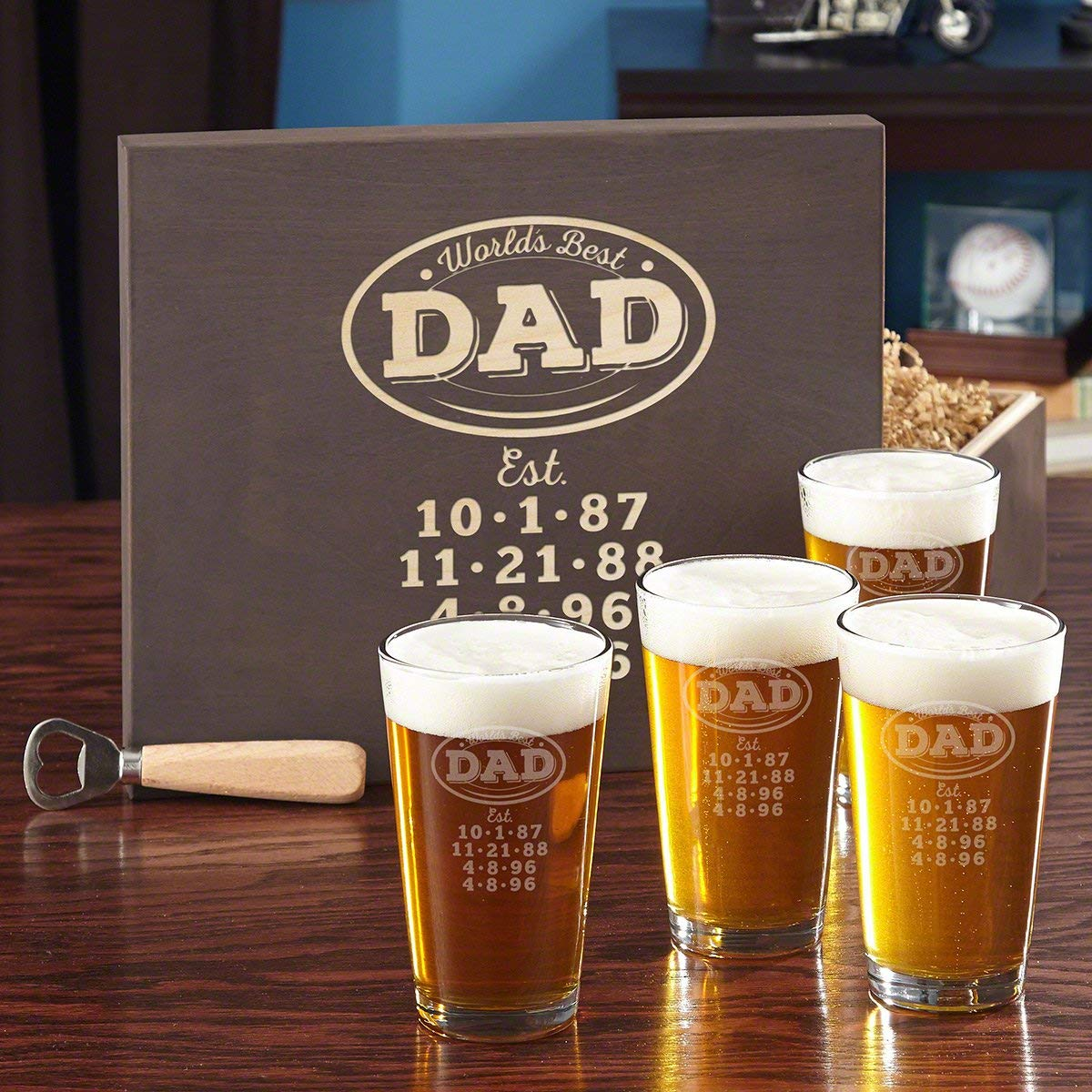 a23f675b0 Get Quotations · World s Best Dad Personalized Beer Glass Set with Custom  Wood Gift Box (Customizable Product)