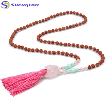 Ethnic Long Tassel 6mm Rudraksha Necklace Mala Beads Natural Crystal Stone  - Buy Mala Necklace,Small Beads Necklace,Mala Beads Necklace Product on