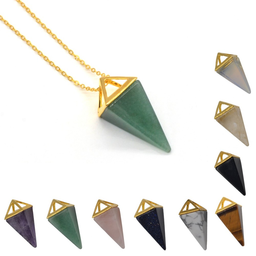 Charms Semi Precious Gemstone Triangle Silver Plated Pendant Necklace