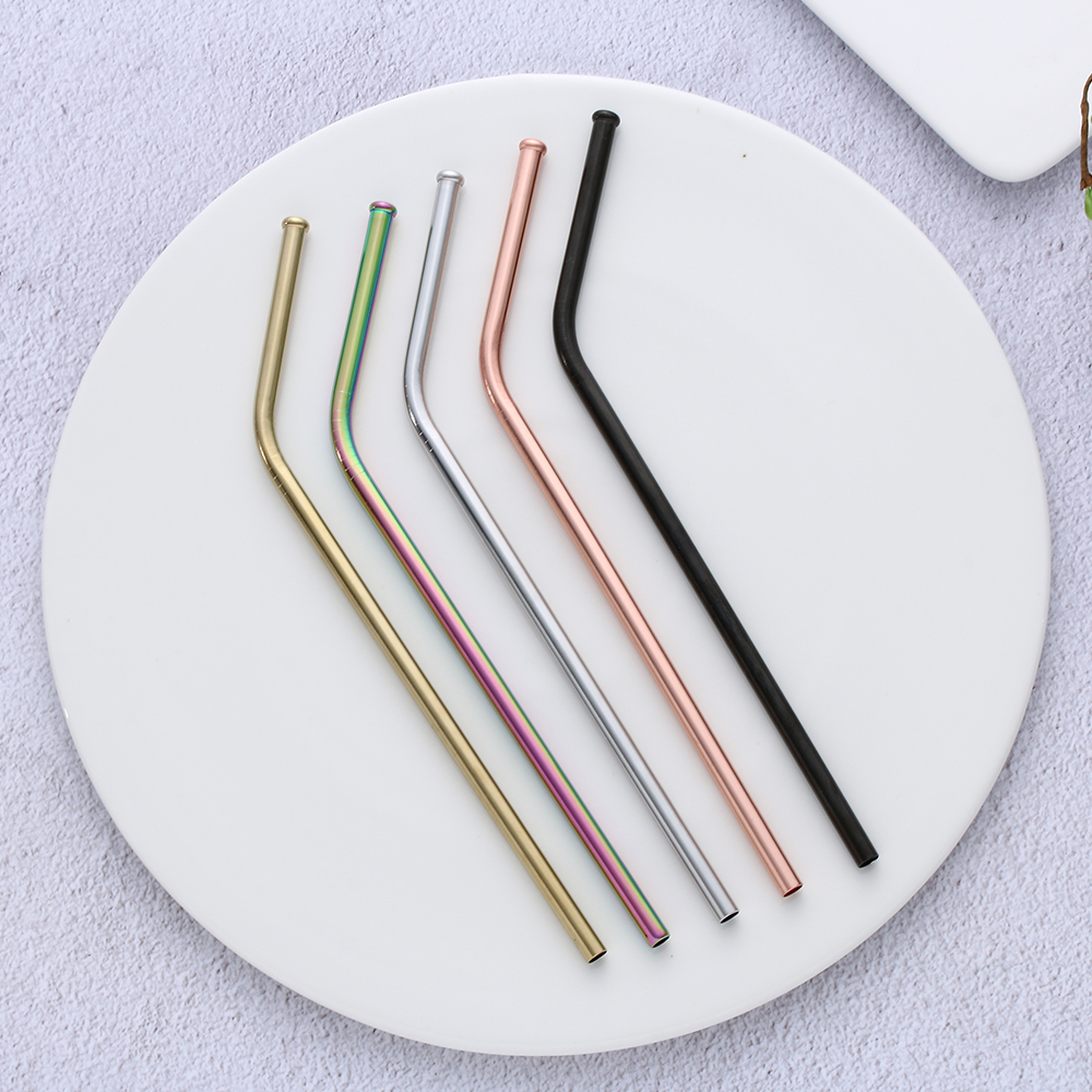 FDA SGS  New Anti-Scratch Drinking Straw Reusable  Stainless Steel Wine Coffee Tea Juice Milk Metal Straws Stocked Kitchen