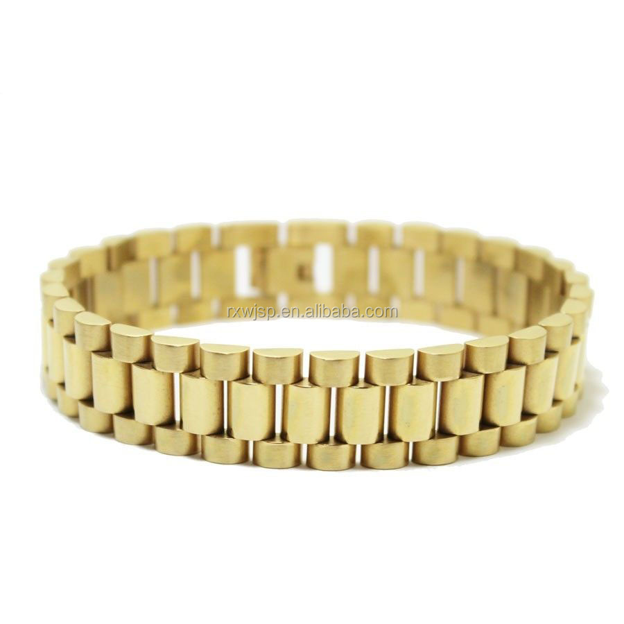7 5 9 Men S Stainless Steel 10mm 15mm Gold Plated Watch Band Link Chain Bracelet Jewelry Fashion