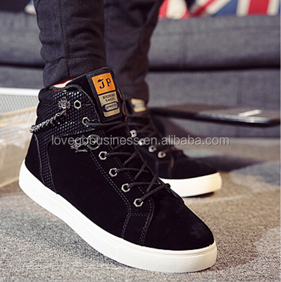 2015 Fashion Korean Style Men Shoes Casual Lace Up Suede Shoes Men Casual Shoes High Cut Sneakers Zapatillas Hombre
