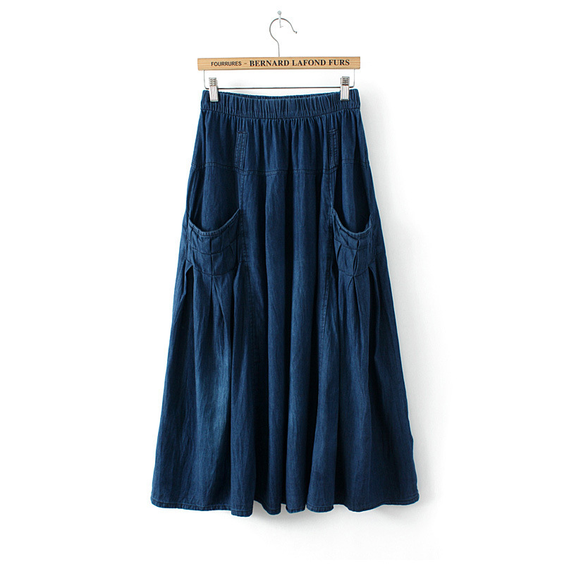 5fded092a09 Get Quotations · 2015 Women New Casual Denim Maxi Skirt Summer Autumn Long  Style Blue Jeans A Line Skirts