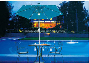Cantilevered Solar Powered LED Outdoor Umbrella parasol China solar powered LED light deck parasol crank hexagonal umbrella