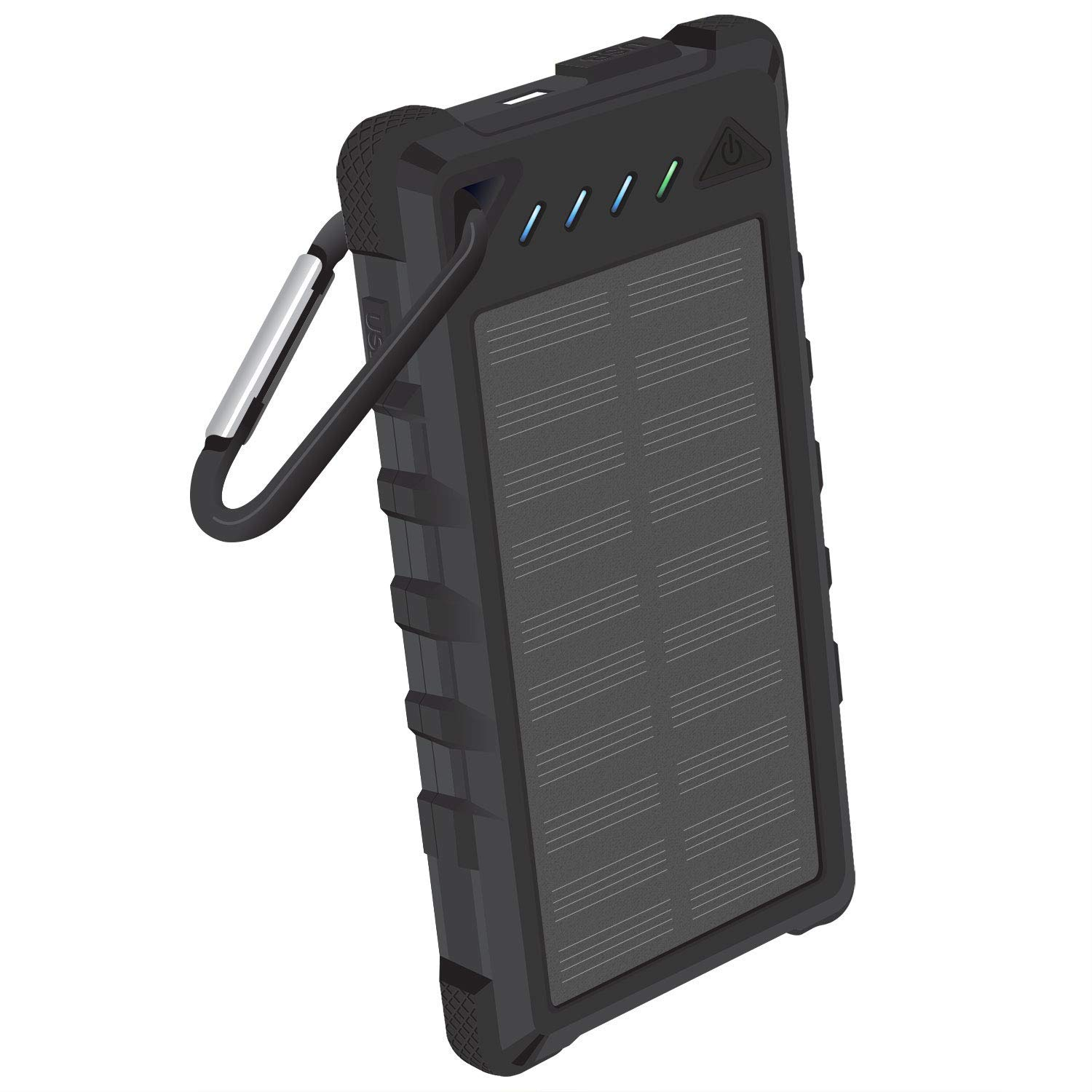 8,000mAh Solar Power Bank Built in Status Display Dual USB Ports Shock Wather Proof Black Compatible iPhone Xr