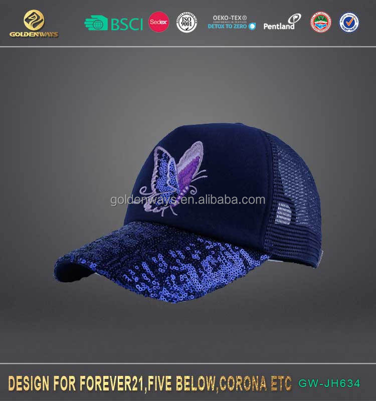 Top selling reversible sequins 6 panel custom applique baseball hat