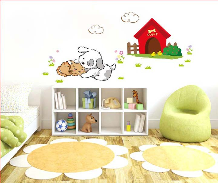 Lovely Dog Kiss The Cat Wall Stickers Cute Decal Home Decor For Kids Room/Living Room CT133