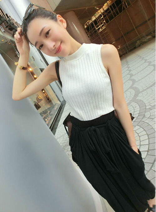 C24206A NEWEST FASHION PLAIN HIGH COLLAR SLEEVELESS CARDIGAN WOMAN'S SWEATER