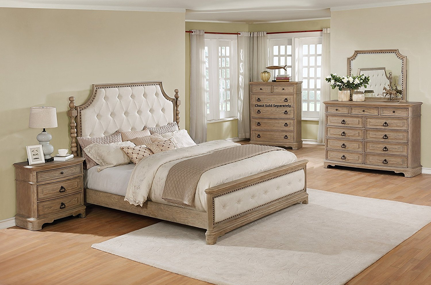 Roundhill Furniture B296QDMN Piraeus 296 Solid Wood Construction Bedroom Set with Queen Size Bed, Dresser, Mirror and Night Stand