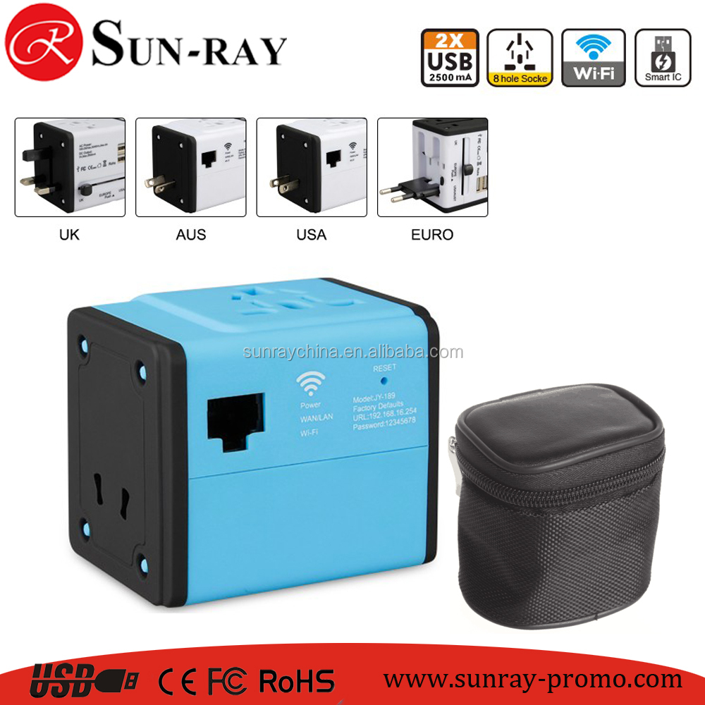 oem logo promotion gift wifi travel adapter with aus usa uk eur plugs used over 150 countries