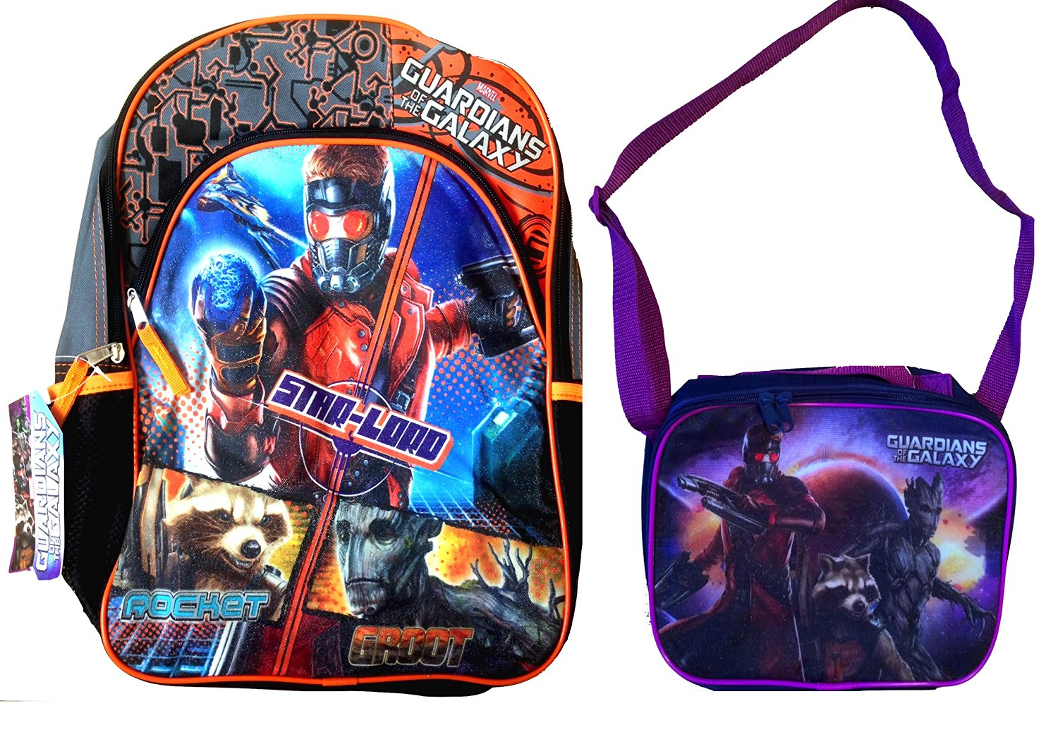 Guardians Of The Galaxy Back To School Children S Backpack With Matching Strap Lunch Box Purple