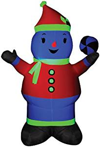Gemmy Airblown Inflatable Neon Snowman Standing Wearing a Scarf and Hat Holding a Peppermint in His Hand - Holiday Decoration, 7-foot Tall x Over 4.5-foot Wide x Over 2.5-foot Deep