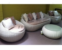 New arrival round shaped outdoor pe rattan sofa set designs and prices