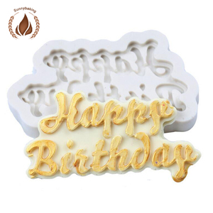 2018 High quality new DIY birthday cake letters fondant cake silicone mold for cake decorating