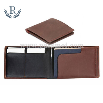 Fashion mens genuine leather with pen holder passport case slim wallet