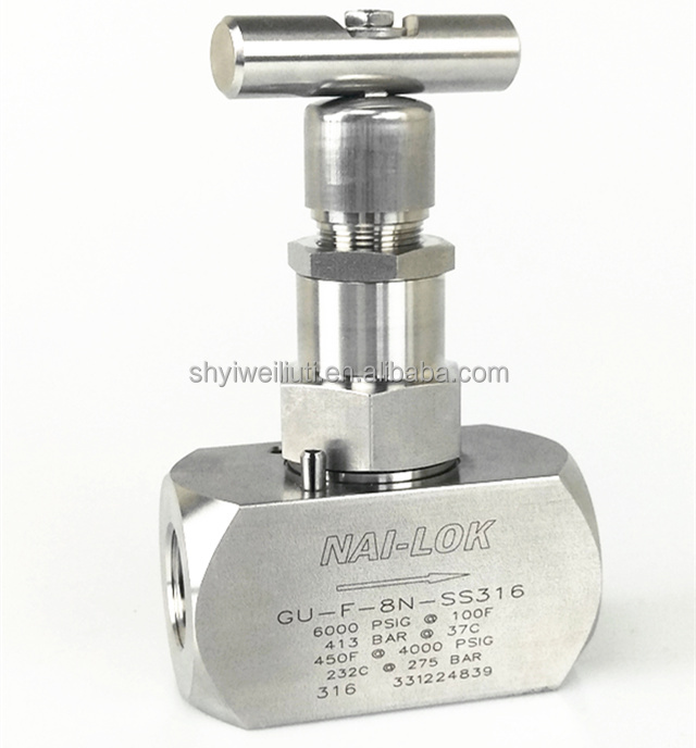 stainless steel 316 double female needle Valve for high pressure <strong>gas</strong>